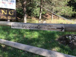 Indicazione percorso Balcone